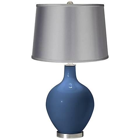 Regatta Blue - Satin Light Gray Shade Ovo Table Lamp