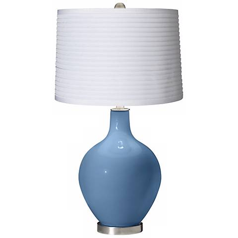 Secure Blue White Pleated Shade Ovo Table Lamp