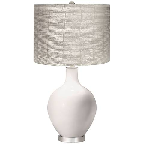 Smart White Gray Striped Shade Ovo Table Lamp