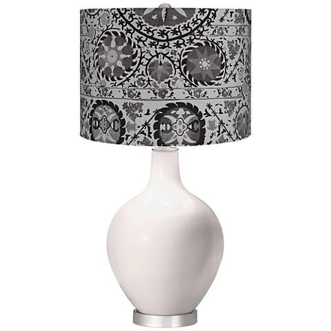 Smart White Gray Suzani Ovo Table Lamp