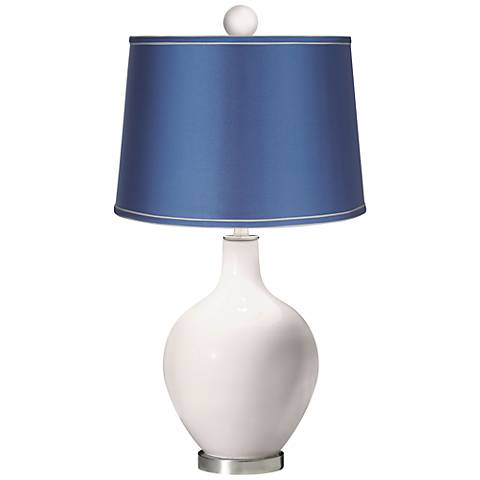 Smart White - Satin Blue Ovo Table Lamp with Color Finial