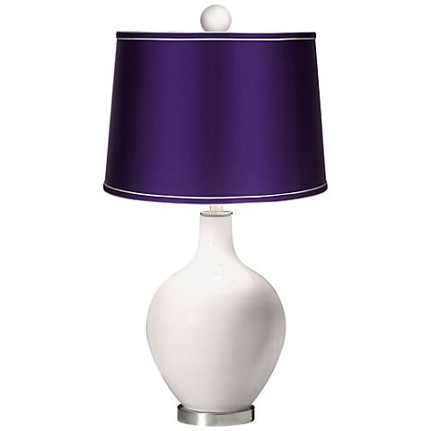 Smart White - Satin Purple Ovo Table Lamp with Color Finial