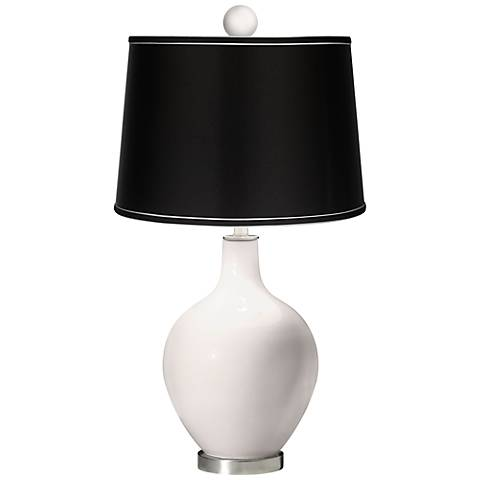 Smart White - Satin Black Ovo Table Lamp with Color Finial