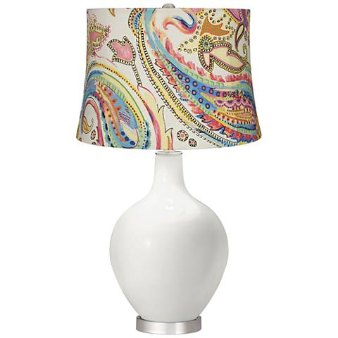 Winter White Watercolor Paisley Ovo Table Lamp