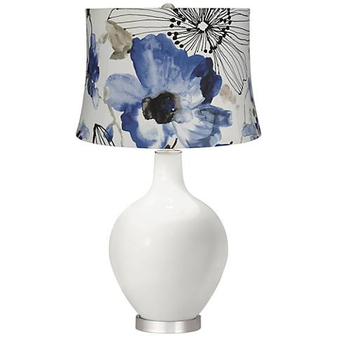 Winter White Blue Watercolor Flowers Ovo Table Lamp