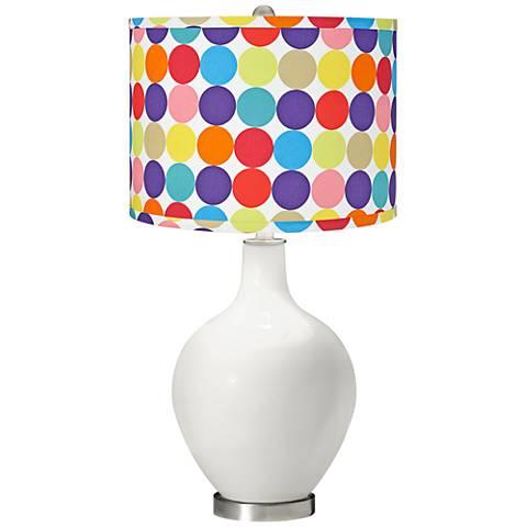 Winter White Multi-Color Circles Shade Ovo Table Lamp