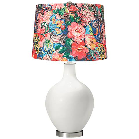 Winter White Floral Digital Print Shade Ovo Table Lamp