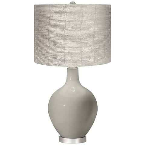 Requisite Gray Striped Shade Ovo Table Lamp