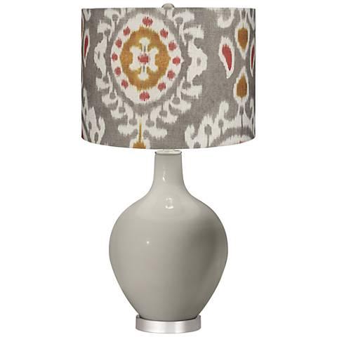 Requisite Gray Batik Paisley Ovo Table Lamp