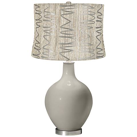 Requisite Gray Abstract Squiggles Shade Ovo Table Lamp