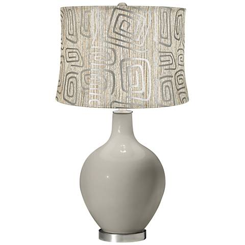 Requisite Gray Spiral Squiggles Shade Ovo Table Lamp