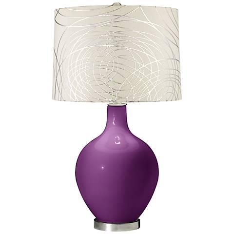 Kimono Violet Abstract Silver Circles Shade Ovo Table Lamp