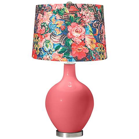 Rose Floral Digital Print Shade Ovo Table Lamp