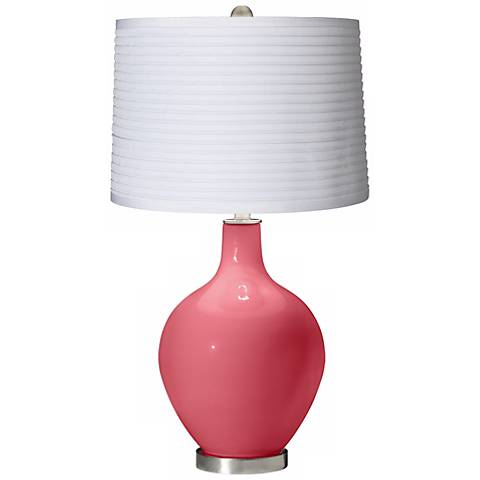 Rose White Pleated Shade Ovo Table Lamp