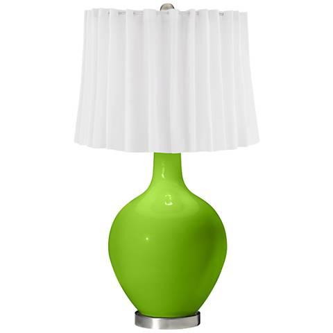 Neon Green White Curtain Ovo Table Lamp