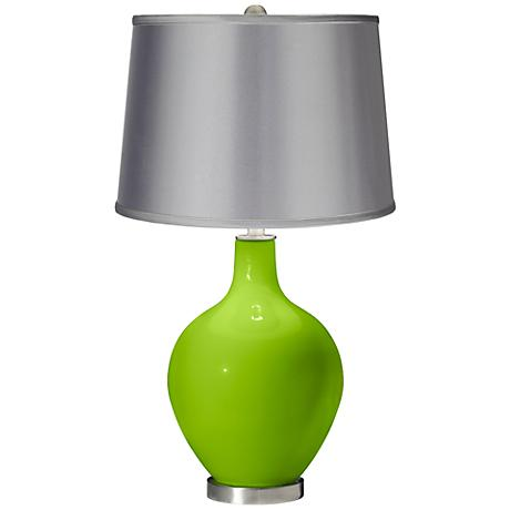 Neon Green - Satin Light Gray Shade Ovo Table Lamp
