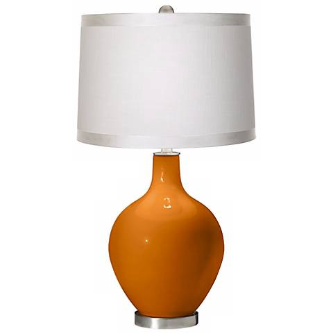 Cinnamon Spice White Drum Shade Ovo Table Lamp