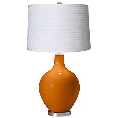 Cinnamon Spice White Pleated Shade Ovo Table Lamp