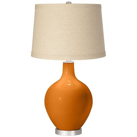 Cinnamon Spice Oatmeal Linen Shade Ovo Table Lamp