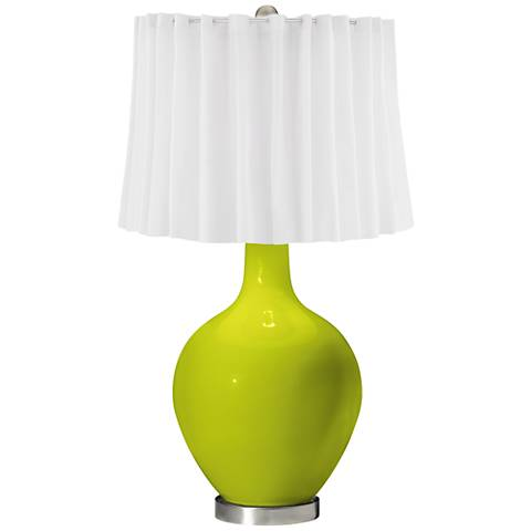 Pastel Green White Curtain Ovo Table Lamp