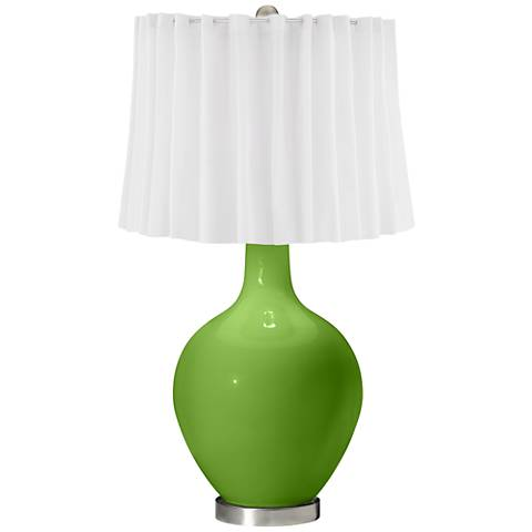 Rosemary Green White Curtain Ovo Table Lamp