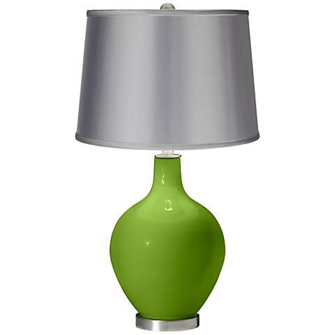 Rosemary Green - Satin Light Gray Shade Ovo Table Lamp