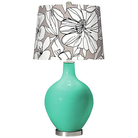 Turquoise Graphic Floral Shade Ovo Table Lamp