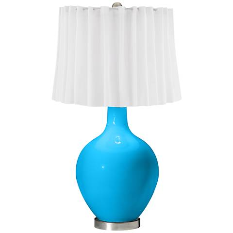 Sky Blue White Curtain Ovo Table Lamp