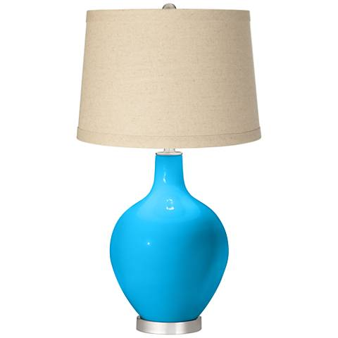 Sky Blue Oatmeal Linen Shade Ovo Table Lamp