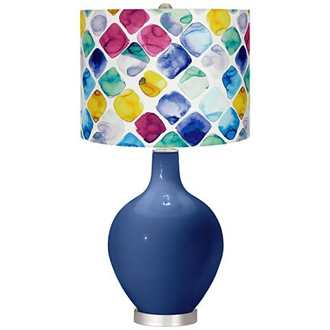 Monaco Blue Multi-Color Diamond Shade Ovo Table Lamp
