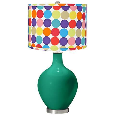 Leaf Multi-Color Circles Shade Ovo Table Lamp