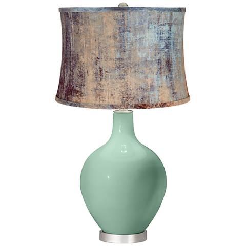 Grayed Jade Blue Velvet Shade Ovo Table Lamp