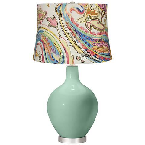 Grayed Jade Watercolor Paisley Ovo Table Lamp