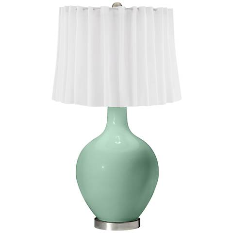 Grayed Jade White Curtain Ovo Table Lamp