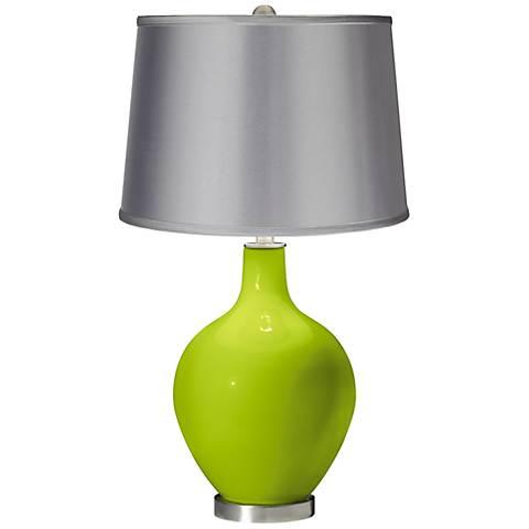 Tender Shoots - Satin Light Gray Shade Ovo Table Lamp