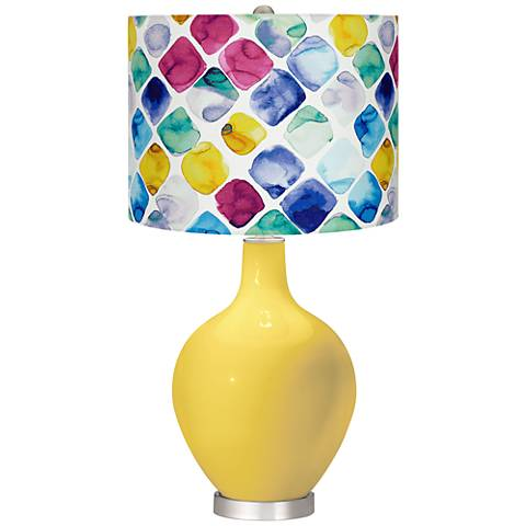 Lemon Zest Multi-Color Diamond Shade Ovo Table Lamp