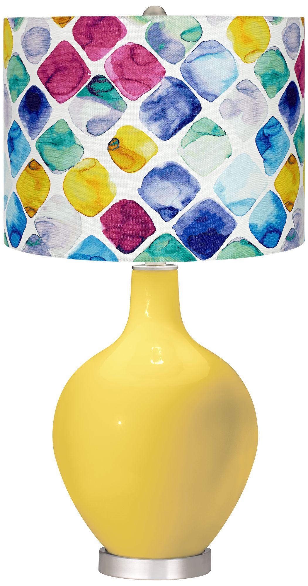 Lemon Zest Multi Color Diamond Shade Ovo Table Lamp