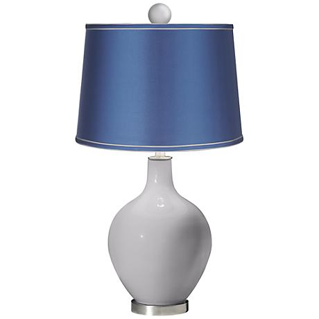 Swanky Gray - Satin Blue Ovo Table Lamp with Color Finial