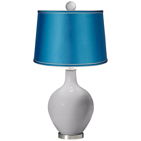 Swanky Gray - Satin Turquoise Ovo Lamp with Color Finial