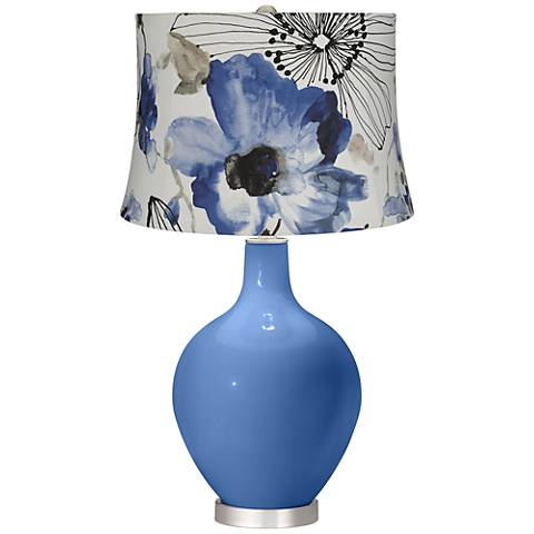 Dazzle Blue Watercolor Flowers Ovo Table Lamp