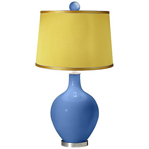 Dazzle - Satin Yellow Ovo Table Lamp with Color Finial
