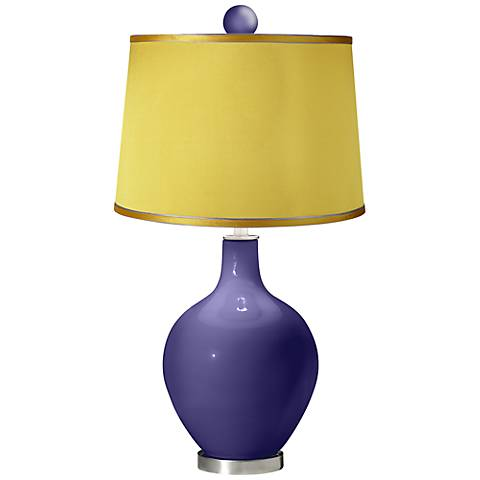 Valiant Violet - Satin Yellow Ovo Table Lamp with Color Finial