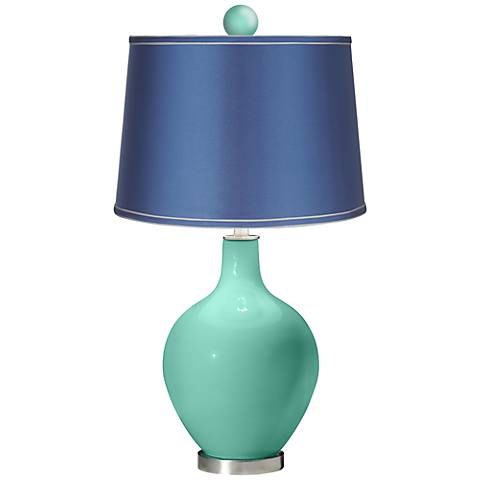 Larchmere - Satin Blue Ovo Table Lamp with Color Finial