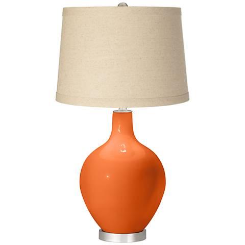 Invigorate Burlap Drum Shade Ovo Table Lamp