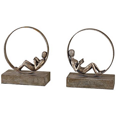 Lounging Reader, Bookends Set