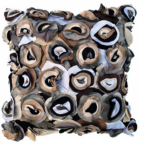 """Blossom Black 22"""" Square Hand-Made Accent Pillow"""