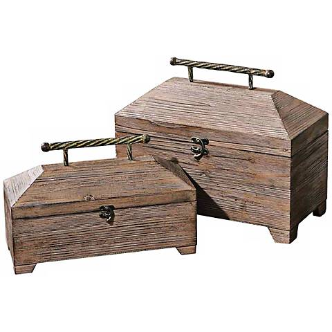 Set of 2 Uttermost Tadao Natural Wood Decorative Boxes