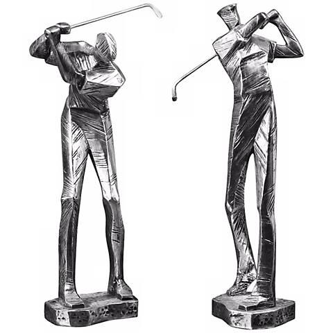 "Set of 2 Uttermost Practice Shot Golfer 16"" High Sculptures"