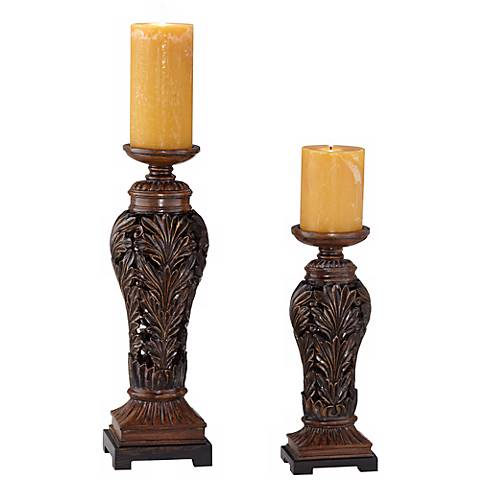 Flora Carved Pillar Candle Holder Set of 2