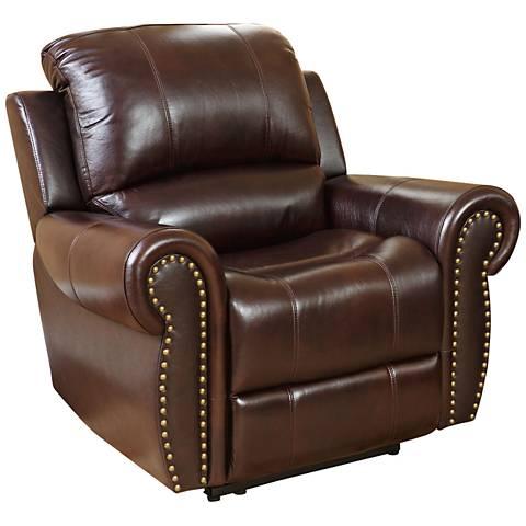 Manhattan Gibson Top-Grain Burgundy Leather Recliner